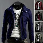 Men's Fashion Slim Fit Casual Stand Collar Zipper Coat Tops Military Jacket New