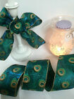 PERFECT PEACOCK shimmery feathers in green & blue - Luxury Wire Edged Ribbon NEW