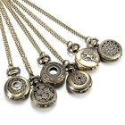 Retro Men Women Bronze Antique Hollow Quartz Pocket Watch Pendant Necklace Chain