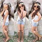 2PCS Baby Girl Vest Top Outfits + Summer Denim Jeans Hot Pants Kid Clothes 2-9Y