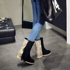 Womens Luxury Leather Suede Tassel sleeve Pull On Mid Calf Boots Court Shoes