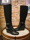 Isaac Mizrahi Black Leather Krystal Wedge Boots NEW