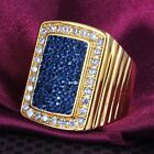 Fancy Size 6,7,8,9 Mens Womens Blue Rhinestone White CZ Yellow Gold Plated Ring