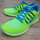Nike Free 5.0 Lime Green Blue Mens Running Shoes With Tiny Defect 579959-340