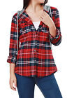 Women Casual Single Breasted Drawstring Plaids Hoodie Shirt