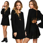 Fashion Women Open Back Summer Casual Long Sleeve Party Evening Cocktail Dress