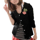 Round Neck Long Puff Sleeve Shirt w Brooch for Women