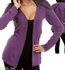 Purple Long Sleeve Cover-Up Hooded Sweater/Cardigan