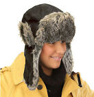 ADULT DELUXE BLACK SUEDE EFFECT FAUX FUR TRAPPER HAT WARM WINTER NEW COVERS EARS