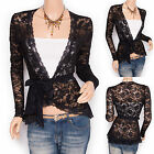 Stunning Black Lace Floral Long Sleeves Cardigan Belt Top Jacket