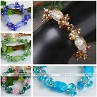 Women Fashion Copper Crystal Glass Drum Faceted Spacer Bead Bangle Bracelet Gift