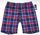 Nwt New Ralph Lauren Active Golf Athletic Shorts Blue Red Plaid Nice Cute Miss