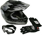 Youth Kids ATV Motocross Dirt Bike MX Black Skull Helmet w/Goggles+Gloves~S M L