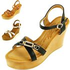 "Womens Wedge Heels 4"" Platform Shoe Gold Rhinestone Open Toe Ankle Strap Sandals"