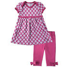 Hudson Baby Girls 2 Piece Pink Print Empire Waist Dress & Pink Leggings with Bow