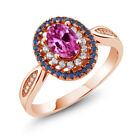 1.60 Ct Oval Pink Created Sapphire 18K Rose Gold Plated Silver Ring