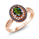 1.55 Ct Forest Green Mystic Topaz 18K Rose Gold Plated Silver Ring