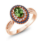 1.45 Ct Oval Green Tourmaline 18K Rose Gold Plated Silver Ring