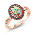 1.60 Ct Oval Natural Green Amethyst 18K Rose Gold Plated Silver Ring