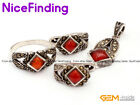 Red Agate Fashion Jewerly Earrings Ring Pendant Set Tibetan Silver Marcasite