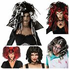 LADIES HALLOWEEN WIGS GHOST DOLL WIDOW BAD FAIRY BLACK RED FANCY DRESS WIG WITCH