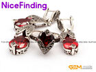 Semi Ruby Faceted Drop Pendant Earirngs Rings Jewelry Antiqued Tibetan Silver