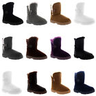 Womens Button Classic Fur Lined Winter Warm Rain Snow Mid Calf Boot UK 3-10