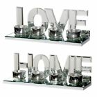 HOME / LOVE Shiny Mirrored Glass Tealight Holder Gift Ornament Holds 4 Candles