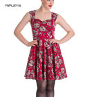 HELL BUNNY Mini Dress IDAHO Sugar Skulls Love Flowers ~ Red All Sizes