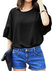 Ladies Pullover 3/4 Sleeve Round Neck Hollow Out Panel Casual Blouses