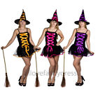 LADIES SEXY HALLOWEEN WITCH BLACK MINI DRESS ORANGE PURPLE PINK AND MATCHING HAT