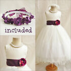 Lovely ivory/plum purple bridal flower girl party dress FREE HEADPIECE all size