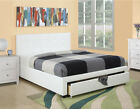 NEW EMILE CONTEMPORARY WHITE LEATHERETTE FULL or QUEEN PLATFORM BED w/ DRAWERS