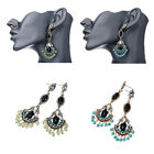 New Fashion Women Vintage Round Dangle Stud Long Drop Crystal Tassel Earrings