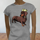 Pimp Dog Lover Dachshund King of Dogs Cute Womens Gray T-Shirt