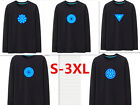 New Tony Stark Light up Glow Tee Iron Man T-Shirt Fluorescent Long Sleeves S-3XL