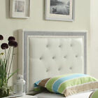 Queen White Faux Crystal Button Tufted Leatherette Uphols...