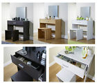 Julia Contemporary Dressing Table Mirror & Stool Oak White Espresso Dresser Desk