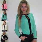 Fashion Women Lady's Round Neck Long Sleeve Chiffon Shirts Loose Tops Blouse