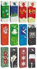 CHRISTMAS BOTTLE GLOSSY GIFT BAGS With Handles & Tags - Xmas Wine Drinks Party