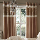 Catherine Lansfield Glamour Jacquard Gold Bronze Floral Eyelet Pair of Curtains