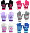 Ladies Womens Gloves Fairisle Snowflake Design Soft Knitted Winter Warm Adults