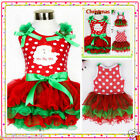 Reds Holly Christmas Party Santa Claus Outfit Girls Dresses SIZE 1-2Y 3Y 4Y 5-6Y