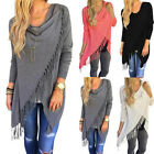 Fashion Women Long Sleeve Tassel Shirt Loose Casual Tops Cardigan Coat Blouse