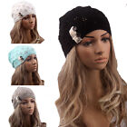 Womens Winter Braided Crochet Wool Knit Beanie Beret Ski Ball Cap Baggy Warm Hat