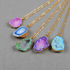 NEW Wholesale 5Pcs Rainbow Agate Druzy Cave Necklace Gold Plated HOT BG0443-N