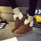 New Fashion womens faux suede Lace up comfort flats ankle boots casual shoes