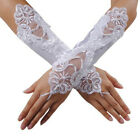 Sexy White Bride Wedding Party Fingerless Lace Satin Bridal Gloves Fancy Prom YW