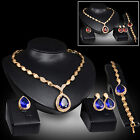 Women Party Waterdrop Cubic Zirconia Necklace Earrings Bracelet Ring Set Fashion