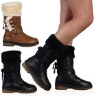 WOMENS LADIES QUILTED FAUX FUR GRIP SOLE SNOW WINTER CALF BOOTS SHOES SIZE 3-8